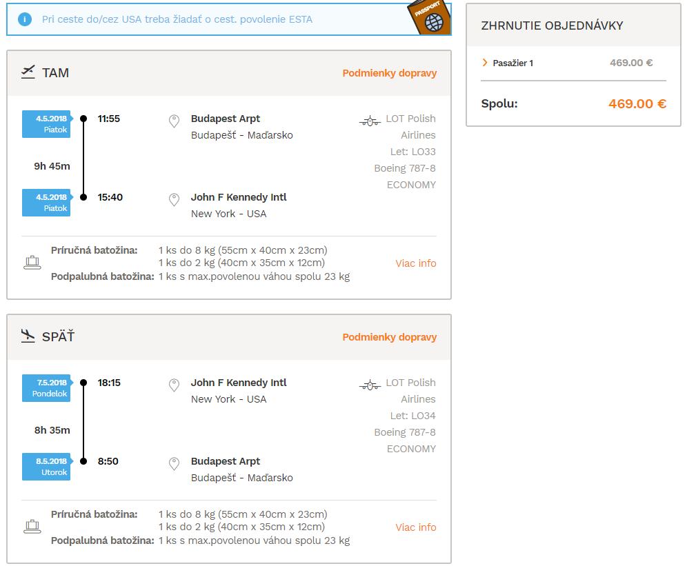 Letenka: Budapešť - New York za 469.00€