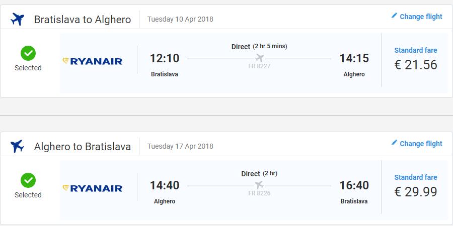 Letenka: Bratislava - Alghero za 52.00€ spiatočne