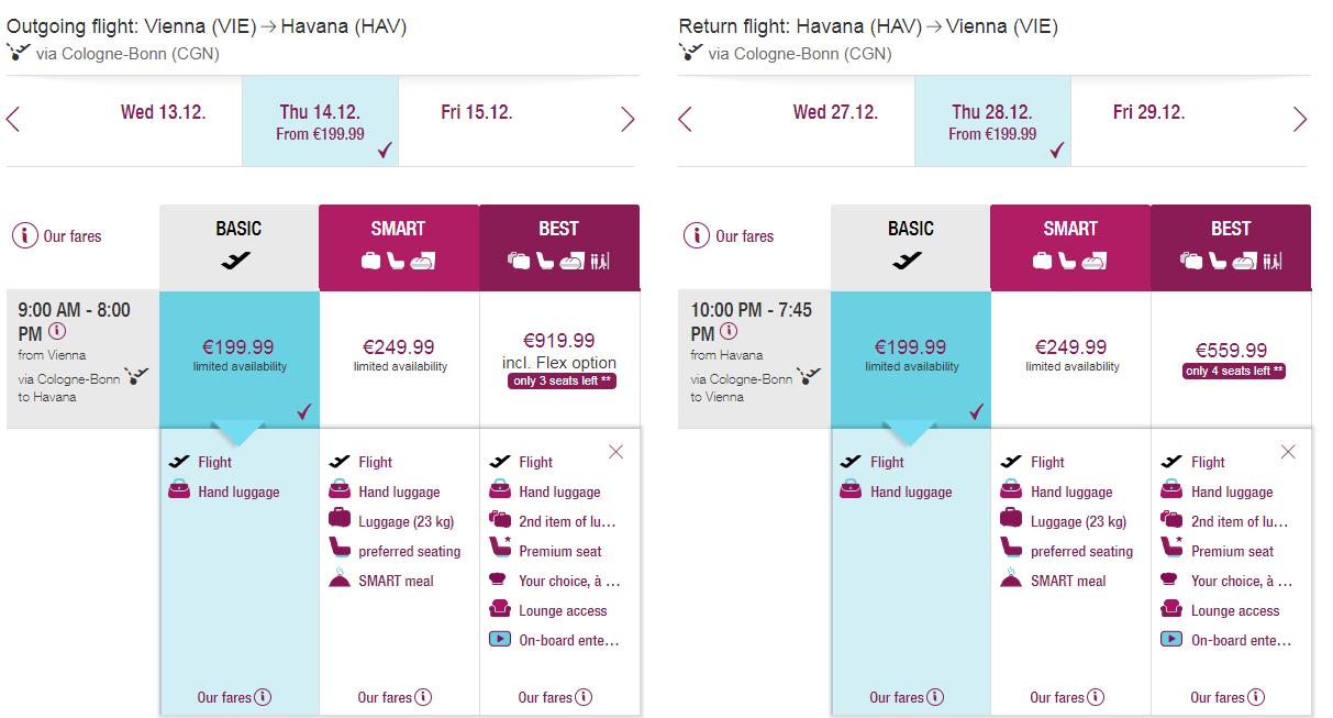 Letenka: Viedeň - Havana za 400.00€ spiatočne