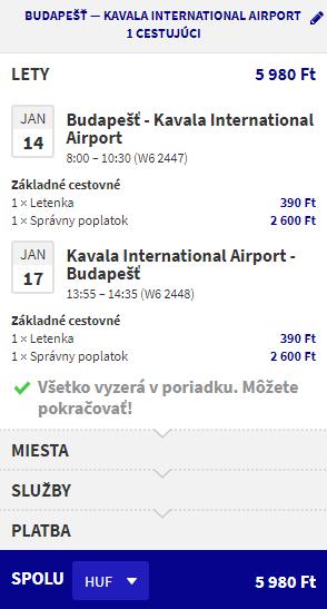 Letenka: Budapešť - Kavala za 19.00€ spiatočne