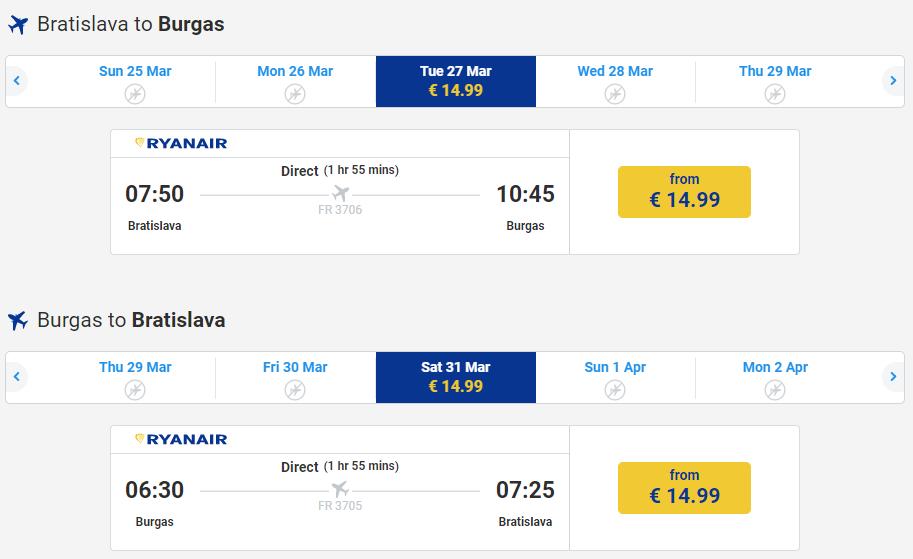 Letenka: Bratislava - Burgas za 30.00€ spiatočne