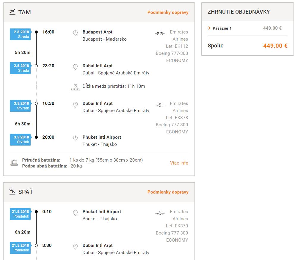 Letenka: Budapešť - Phuket za 449.00€ spiatočne