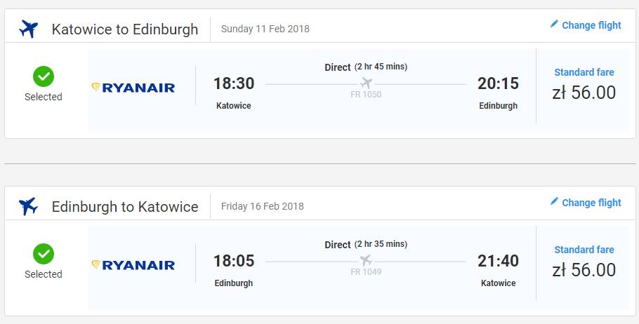 Letenka: Katovice - Edinburgh za 27.00€ spiatočne