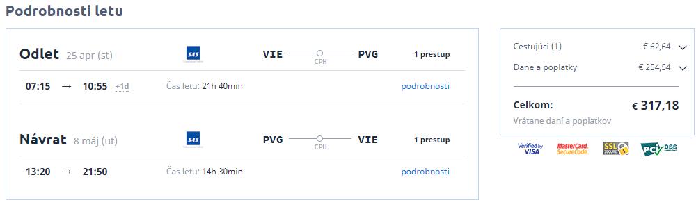 Letenka: Viedeň - Šanghaj za 317.00€ spiatočne