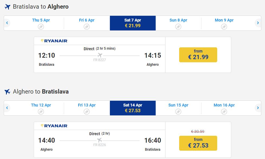 Letenka: Bratislava - Alghero za 49.00€ spiatočne