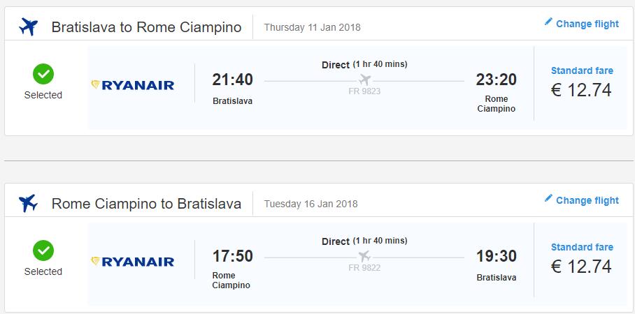 Letenka: Bratislava - Rím za 25.00€ spiatočne