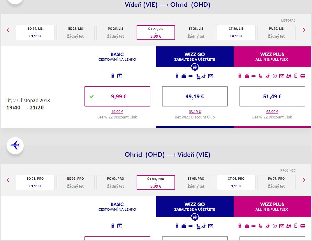 Letenka: Viedeň - Ohrid za 20.00€ spiatočne