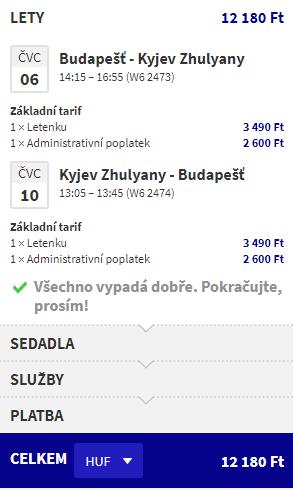 Letenka: Budapešť - Kyjev za 39.00€ spiatočne